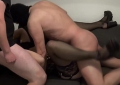 Andrea group-fucked apart from 4 chaps with an increment of 1 lady-man